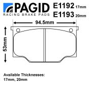 Pagid Girling AR Mk5/BR/ORA Caliper Brake Pad Set