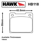 Hawk Girling 14LF Caliper Brake Pad Set
