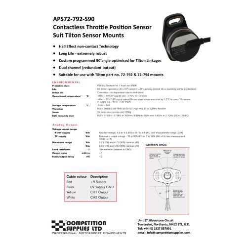Variohm Brand Throttle Position Sensor Contact-less style