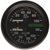 Racetech Mechanical Oil Pressure/Water Temperature Gauge 100 PSI / 110°C