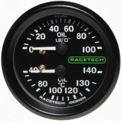 Racetech Mechanical Oil Pressure/Oil Temperature Dual Gauge 100 PSI / 140°C