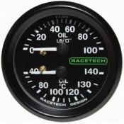 Racetech Mechanical Oil Pressure/Oil Temperature Dual Gauge 100 PSI / 140°C