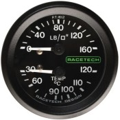 Racetech Mechanical Pressure/Temperature Gauge 160 PSI / 120 °C