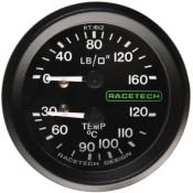 Racetech Mechanical Pressure/Temperature Gauge 160 PSI / 120 °C
